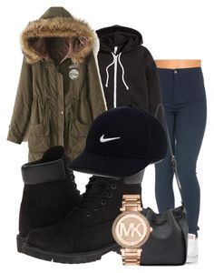 """""""winter outfit"""" by rabiamiah on Polyvore featuring H&M, WithChic, Timberland, Michael Kors and NIKE"""