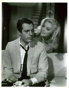 Virna Lisi and Marcello Mastroianni in Aujourd'hui, demain et après-demain directed by Eduardo de Filippo, 1965