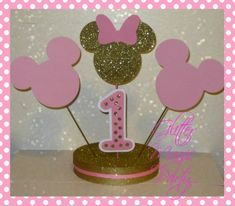 MINNIE MOUSE CENTERPIECE - Gold and Pink - Made to Order by GlitterMagicParty, $28.50 USD