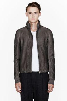 Rick Owens Grey Leather Secret Hood Sternberg Jacket for men | SSENSE