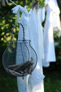 ♥ A new use for your french country wire egg baskets!!!!!! looooove clotheslines, clothespin art, laundry baskets, wire baskets, laundri, garden, clothes lines, hanging baskets, linen