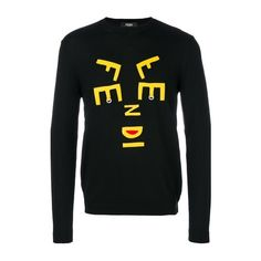FENDI Yellow Patches Jumper ($566) ❤ liked on Polyvore featuring men's fashion, men's clothing, men's sweaters, black, mens yellow sweater and mens elbow patch sweater