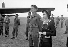 Princess Elizabeth watching parachutists dropping during a visit to airborne forces in England in the run-up to D-Day