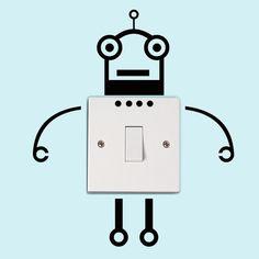 DIY Grappig Leuke Schakelaar robot Stickers Muurstickers Woondecoratie Slaapkamer Parlor Decoratie