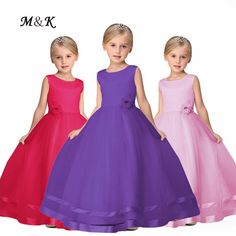 12.98$  Watch here - 2017 Summer Baby Girls Dress Formal Dress  Rose Flower Layers Solid Voile Kids Princess Dress For Wedding Stage Dance Wear  #magazine