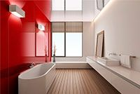 High Gloss Bathroom Walls In Rouge Color
