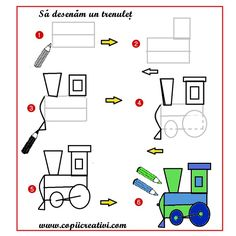 Invata sa faci desene pentru colorat -Sa desenam un tren
