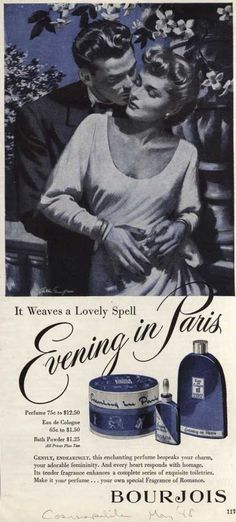 Bourjois' Evening in Paris Cosmetics – It weaves a Lovely Spell Paris Perfume, Perfume Ad, Vintage Perfume, Perfume Bottles, Vintage Advertisements, Vintage Ads, Vintage Images, Vintage Posters, Bourjois Evening In Paris