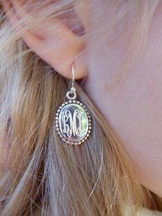 love these monogram earrings! I Love Jewelry, Jewelry Box, Jewelery, Jewelry Accessories, Monogram Earrings, Monogram Jewelry, Monogram Bracelet, Sterling Silver Earrings, Silver Jewelry