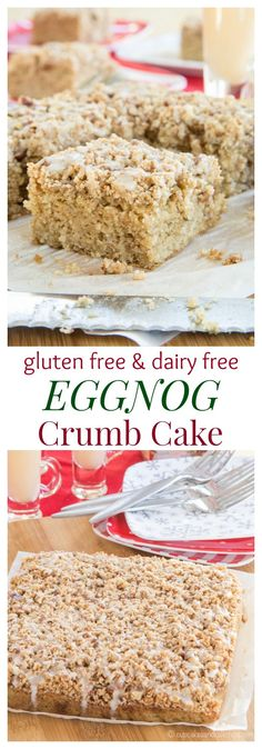 Gluten Free Eggnog Crumb Cake recipe. The aroma of cinnamon and nutmeg will have the family running out of bed for Christmas morning breakfast. Make it dairy free with @LoveMySilk. Great for Thanksgiving dessert too!