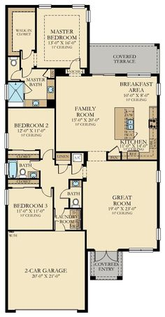 Ananda New Home Plan in Satori: Executive Estates Collection by Lennar One Level House Plans, Narrow House Plans, Pole Barn House Plans, Pole Barn Homes, New House Plans, House Floor Plans, Custom Home Plans, One Story Homes, New Home Communities
