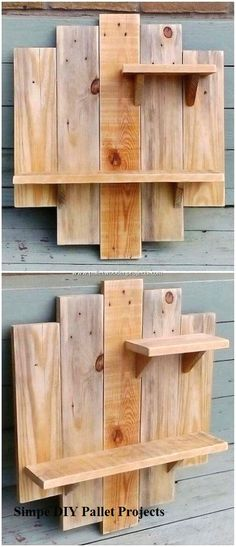 Incredible Do It Yourself Pallet Projects and Plans Mostly in the house wall areas you will probably view the amazing wall shelf designs. Here we have the simple and yet innovative designed creation of all shelf piece for you. Grab it! You will be finding Wooden Pallet Projects, Diy Furniture Plans Wood Projects, Easy Wood Projects, Wooden Pallets, Woodworking Projects, Woodworking Plans, Project Ideas, Furniture Ideas, Pallet Benches