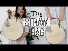 Make your own round straw bag with this easy tutorial. I'll show you how fast you can create your own round straw bag that goes perfectly with every summer o.Cum sa faci o geanta rotunda din paie Diy Bags Easy, Simple Bags, Round Straw Bag, Round Bag, Diy Handbag, Diy Purse, Diy Straw, Diy Bags Purses, Techniques Couture