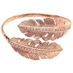 Nina Feather Wrap Bangle Rose Gold White ($188) ❤ liked on Polyvore