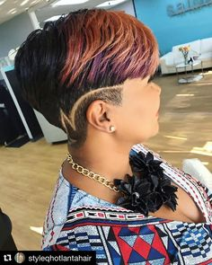 #Repost @styleqhotlantahair (@get_repost)  Drawing attention...Style Q Showcasing the absolute best in beauty hair @pekelariley #StyleQ #showcase #styleqhotlantahair #hair #beauty #color #cut #shortcut #shortstyles #cosmetology #atlantahairstylist #followme #likeme #like4like #hair #hairstylist #haircut #style #design