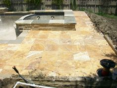 Gold Paver Pattern #travertine #paver #gold #frenchpattern #contractor #homeimprovement #pool #poolcoping #decor #design #fixerupper #lifestyle #exteriordesign #marble #naturalstone Paver Patterns, Travertine Pavers, French Pattern, Pool Coping, Fixer Upper, Tuscany, Exterior Design, Natural Stones, Swimming Pools