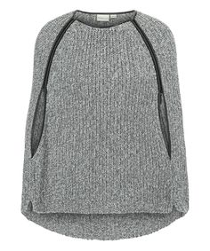 This Gray Marl & Black Faux Leather-Trim Cape by Tribal is perfect! #zulilyfinds