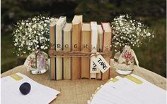 Cute vintage centerpiece idea for couples who are big readers!