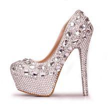 Love from www.the2020marriage.com  Handmade Luxury Crystal Rhinestone High Heels Lady Waterproof Platform Wedding Dress Shoes Women Round Toe Bridal Shoes Pumps(China (Mainland))