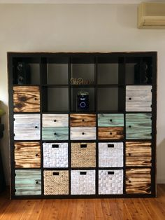 Kallax hack with Shou Sugi Ban style pine doors, drawers & cladding Ikea Kallax Shelving, Kallax Hack, Pallet Furniture, Furniture Ideas, Pine Doors, Headboards For Beds, Cladding, Farmhouse Decor, Drawers