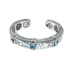 Designer Inspired Cable Style Bracelet  with Blue Topaz CZ Stones and Gold Vermil Trimmed