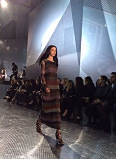 Stripes on the runway at the #HMStudioAW14 show at #PFW!