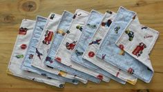 set of 8 baby boy washcloths or wipes, made with reclaimed fabric, 2 ply, 7x7. $8.00, via Etsy.