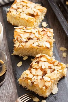 German Butter Sheet Cake (Butterkuchen) - A classic German favorite, this is a treat that you can easily make at home. German Butter Sheet Cake (Butterkuchen) will surely win you over -- great for snack, dessert or breakfast. German Butter Cake, German Cake, Savoury Dishes, Savoury Cake, German Desserts, German Recipes, Dutch Recipes, Sweet Recipes, Cake Recipes