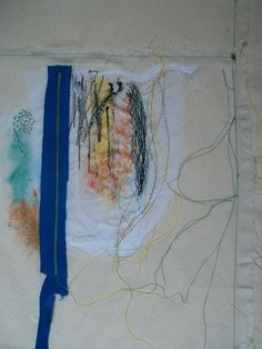 -Stitched Textile Series: Sample using seaming, couching, machine embroidery, painting and seeding. Inspired by the Bauhaus movement and architecture.