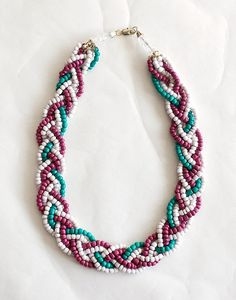 beaded and braided necklace $18