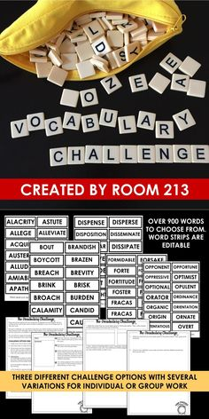 Middle and high school English teachers: do your students need to use more complex vocabulary? Use these vocabulary challenges to engage them in activities that will improve their word choice. Ela Classroom, High School Classroom, Homeschool High School, English Classroom, High School Students, English Teachers, Homeschooling, Top Art Schools, Teaching Secondary