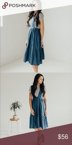 Tiered suspender dress - Denim Top sold separately. I am 5'9 wearing a size small. Small (0-4) Medium (4-8) Large (8-12) Dresses