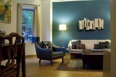 peacock blue accent walls