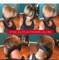 Two tones, ombre,  gold on black,  Bob