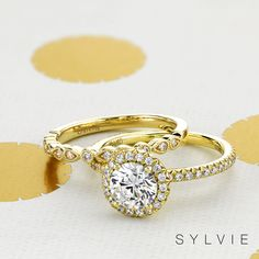 Sylvie Collection is designed by a woman for a woman. Sylvie creates diamond engagement rings with the highest standards of craftsmanship, detail & quality Beautiful Engagement Rings, Halo Engagement Rings, Designer Engagement Rings, Wedding Ring Bands, Wedding Sets, Gold Wedding, Engagement Ring Buying Guide, Fashion Rings, Fine Jewelry