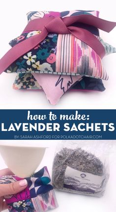 Learn how to make lavender sachets with this simple sewing tutorial. They made great gifts! Easy Sewing Projects, Sewing Hacks, Sewing Tutorials, Sewing Ideas, Sewing Patterns, Lavender Bags, Lavender Sachets, Easy Crafts To Make, How To Make