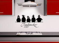 Grandora W862 Wandtattoo Spruch Topfgucker + 5 Vögel Küche schwarz 30 x 14 cm