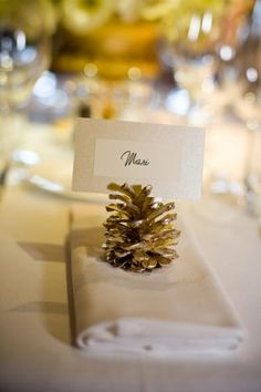 Pine cone place card holders. Winter wedding...but Silver, not Gold