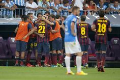 El banquillo azulgrana felicita a Adriano. 1 Málaga 0-1 FC Barcelona. [25.08.13]