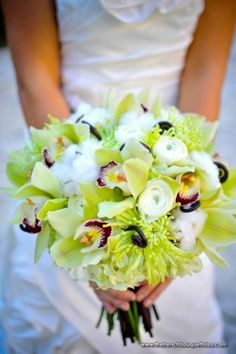 green cymbidium orchids, green spider mums, and cotton plumes in bridal bouquet