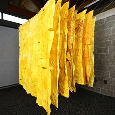 """Melinda Steffy  Aubade: Mnemosyne Sings  Turmeric-dyed canvas, 9 panels of 144 patches each  60"""" x 60"""" x 60"""""""