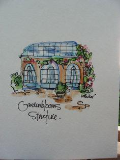 Garden Greenhouse Watercolor Card