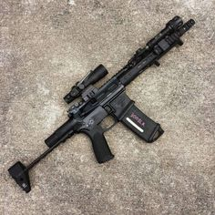 Noveske SBR with a Troy Industries PDW stock and Trijicon Airsoft Guns, Weapons Guns, Guns And Ammo, Survival Weapons, Anime Weapons, Survival Gear, Assault Weapon, Assault Rifle, Ar Pistol
