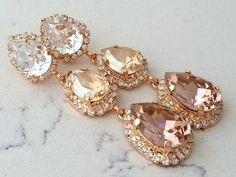 Blush bridal earrings,Long chandelier earrings,Champagne blush earrings,Rose Gold blush bridesmaid e Emerald Earrings, Rose Gold Earrings, Leaf Earrings, Chandelier Earrings, Gemstone Earrings, Dangle Earrings, Statement Earrings, Bridesmaid Earrings, Bridal Earrings