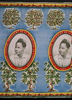 Ahmadou Ahidjo, President of Cameroun, 1960-1982. Two cloths: top, circa 1963, bottom, circa 1970.