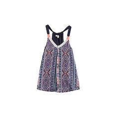 Rewind Juniors Aztec Print Print Swing Top (25 AUD) ❤ liked on Polyvore featuring tops, v-neck top, aztec top, v neck tops, spaghetti-strap top and trapeze top