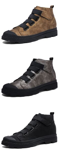 US$41.45 Men Elastic Laces Hook-loop Wearable Work Leather Boots