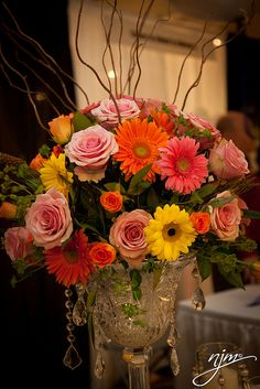 Gerber Daisy and Rose Centerpiece by Flowers from Holland.