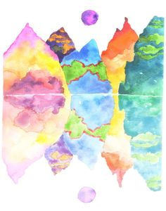 """the """"CHLOÉ""""- Candy Colored Mountain Range and Reflection- watercolor poster print"""