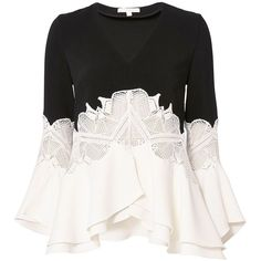 Jonathan Simkhai Women's Ruffled Sleeve Lace Top featuring polyvore, women's fashion, clothing, tops, shirts, blouses, ruffle sleeve shirt, ruffle top, white lace shirt, long-sleeve shirt and white shirt